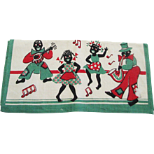 Vintage Silk Screened Linen Black Memorabilia Kitchen Towel New Never Used