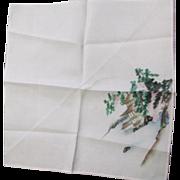 Vintage Mid Century WWII Souvenir Hand Painted Silk Handkerchief