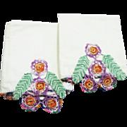 Vintage Hand Crochet Pillow Cases Full Size
