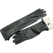 Vintage Black Kid Leather Long Cashmere Lined Gloves