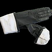 Vintage Black Kid Leather Butter Soft Silk Lined