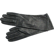 Vintage Butter Soft Kid Leather Made In Italy Black Leather Gloves