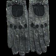 Vintage Black Leather Driving Gloves