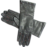 Vintage Black Leather Butter Soft Kid Leather Made In Italy Gloves