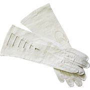 Vintage Mid Century White French Kid Leather Gloves With Cut Outs