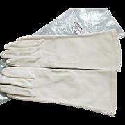 "Vintage New ""Crelon"" Matt Kid Grained Cloth Mid Length Gloves"
