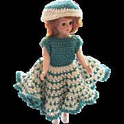 Vintage Hard Plastic Doll Crochet Dress & Hat