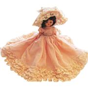 Vintage Pretty Little Hard Plastic Doll With Fancy Dress - Red Tag Sale Item
