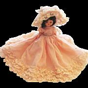 Vintage Pretty Little Hard Plastic Doll With Fancy Dress