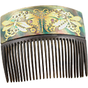 Victorian Hair Comb With Inlay Of 18K Gold Butterfly Shapes