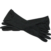 Black Vintage Christian Dior 1960's Mid Length Cloth Gloves