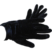 Vintage Dark Navy Blue Velvet Hansen Gloves