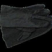 Vintage New Black Rayon Stretch Gloves