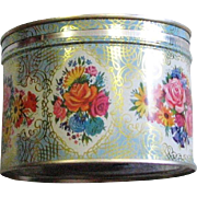 Vintage Litho Flower Tin Had Key Opening