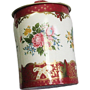 Vintage Made In England Litho Flower Colorful Tin