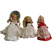 Three Small Vintage Storybook Dolls