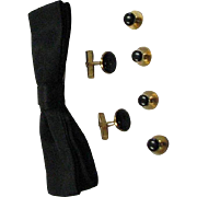 Vintage Formal Wear Black & Gold Studs, Cuff Links & Black Bow Tie