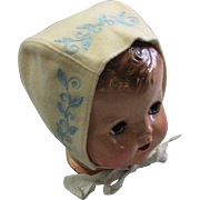 Vintage 1940's Wool Baby Bonnet With Blue Embroidery