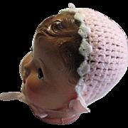 Vintage Hand Crouched Infant Pink Cap
