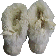 Vintage 1940's Kid Leather & Rabbit Fur Infant Shoes