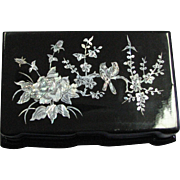 Vintage Black Lacquered Jewelry Box With Mother Of Pearl Inlay