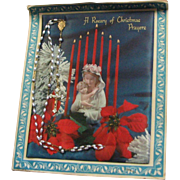 Vintage Silk Screened Poinsettias, Madonna & Child Rosary Spiritual Offering