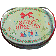 Marvelous Vintage Litho Holiday Handled Picnic/Lunch Tin