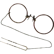 Old Pair Of Pince-Nez Eye Glasses With 12K Gold Chain