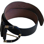 Upscale Ginnie Johansen Navy Blue Wide Women's Leather Belt