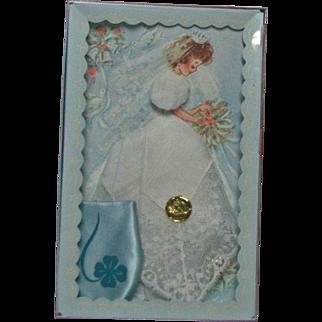 1950's Linen Lace Wedding Bridal Hankie & Blue Satin Coin Holder