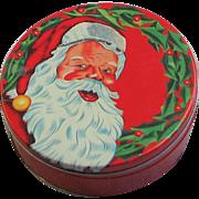Vintage Santa Litho  Round Tin