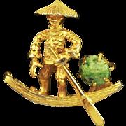 Vintage BSK Chinese Fisherman In Sampan & Coolie Hat