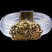Spectacular French Designer Inna Cytrine Heavy Lucite & Gold Colored Metal Bangle Bracelet