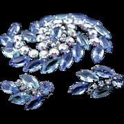 Vintage Juliana Blue & AB Rhinestone Brooch & Earrings