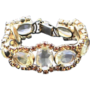 Vintage Light Yellow Extra Large Glass Stone & Gold Faceted Rhinestone Bracelet