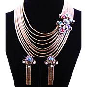 Rare Hobe` Antique Gold Metal Chain & Fancy Stone Clasp Necklace & Earrings Set