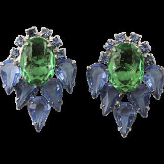 Vintage 1960's Green & Blue Clip Earrings