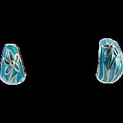 Vintage Enamel Daisy Clip Earrings