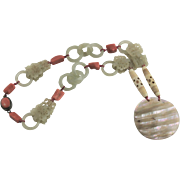 Spectacular Chinese Devils Work Carved Jade Necklace With Natural Coral