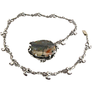 Vintage Handmade Flower Chain & Picture Agate Pendent/Clasp Necklace Made Of Sterling Silver