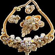 Lovely D&E Juliana Book Set Necklac, Brooch & Earrings