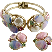 Grand  Juliana Clamper Bracelet & Earrings With Large Fancy Pink Matrix