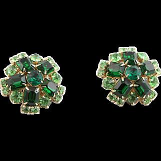 Large Vintage Green Rhinestone Earrings
