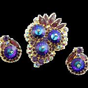 Spectacular Juliana Bermuda Blue Heliotrope Margarita Stone Brooch & Earrings