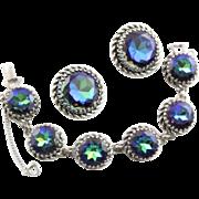 Spectacular Schiaparelli Bracelet & Earrings With Tourmaline Rhinestones In Blue & Green