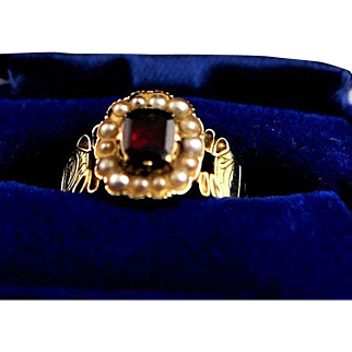 Show Stopping Victorian 14K Gold And Seed Pearl With Synthetic Square Cut Ruby Ring