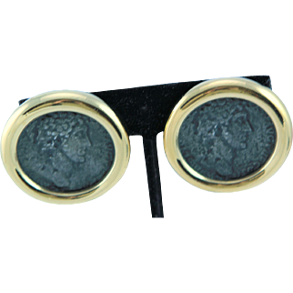 Large Ciner Roman Face New Old Stock Clip Earrings