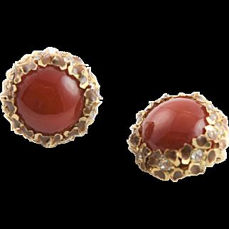 Kafin 1950's Dark Amber & Gold Flower Clip Earrings