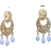 Vintage Chandelier Kenneth Jay Lane Gold Metal & White Pearl Earrings
