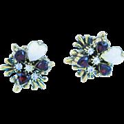 Vintage Poured  Heart Shape White Glass & Red Rhinestone Clip Earrings